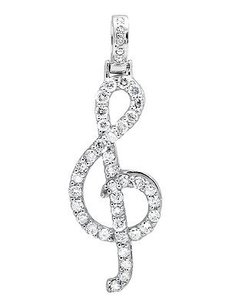 10k White Gold G Treble Clef Music Note 1.5 Genuine Diamond Pendant Charm 1.0ct