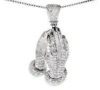 10k White Gold Mens Ladies Real Diamond Praying Hands 1.5 Pendant Charm 1.15 Ct