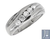 10k White Gold Mens Round Channel Diagonal Diamond Wedding Band Ring .50 Ct