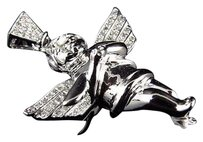 Other 10k White Gold Praying Hands Angel Cherub 1.25 Inch Diamond Pendant Charm 0.25ct