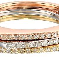 10k White, Yellow, and Pink Gold Diamond Square Stackable Ring (1/4cttw, I-J Color, I2-I3 Clarity), Size 7