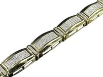 Other 10k Yellow Gold 10mm Bar Style Link Inch Genuine Diamond Bracelet 2.12ct