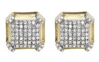 10k Yellow Gold 8mm 3d Square Octagon Genuine Diamond Stud Earring 0.50ct