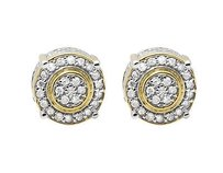 10k Yellow Gold 9mm Three Dimension Flower Halo Diamond Stud Earring 0.75ct
