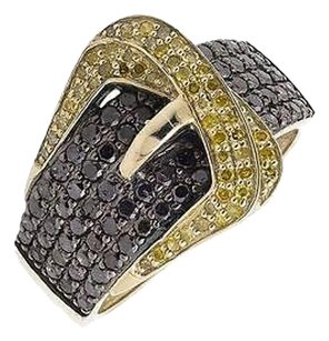 Other 10k Yellow Gold Belt Buckle Black And Canary Diamond Statement Band Ring 1.50ct.