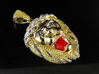 10k Yellow Gold Big Sean Styled Lion Head Genuine Color Diamond Pendant 3.5ct 2