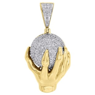 10k Yellow Gold Diamond Mens Hand Holding Globe World Pendant 1.55 0.75 Cttw