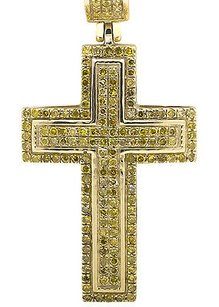 10k Yellow Gold Dome Cross Round-cut Canary Diamond 1 Inch Pendant Charm 0.51ct
