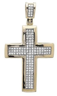 10k Yellow Gold Dome Cross Three Row Genuine Diamond 1.5 Pendant Charm 0.40ct