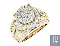 10k Yellow Gold Halo Round Baguette Cut Engagement Wedding Diamond Ring 3.0ct