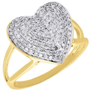 10k Yellow Gold Heart Shape Round Diamond Cocktail Right Hand Pave Ring 0.45 Ct.