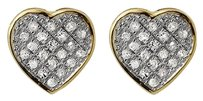 10k Yellow Gold Heart Shaped Pave Set Round Diamond Stud Earrings 0.15ct 9mm