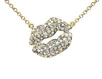10k Yellow Gold Kissing Lips Diamond Necklace Pendant With Inch Chain 0.50ct