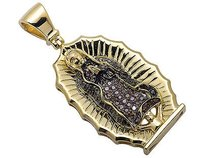 Other 10k Yellow Gold Lady Of Guadalupe Black Brown Diamond 1 Charm Pendant 0.30ct.