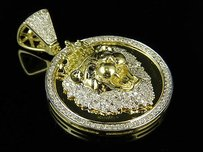 10k Yellow Gold Lion King Canary And White Diamond 1.5 Medallion Pendant 1.18ct