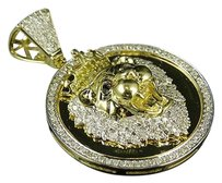 Other 10k Yellow Gold Lion King Canary And White Diamond 1.5 Medallion Pendant 1.18ct