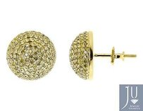 10k Yellow Gold Mens Ladies Round Canary Pave Diamond 12mm Studs Earrings 1.2 Ct
