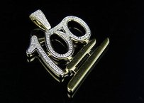 10k Yellow Gold Mens Logo Emoji Real Diamond Mini Charm Pendant 0.60ct 1.5