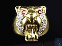 10k Yellow Gold Mens Simulated Diamond Cougar Head Fashion Pinky Ring 19mm