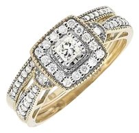 Other 10k Yellow Gold Milgrain Square Halo Diamond Engagement Wedding Ring Set 0.50ct