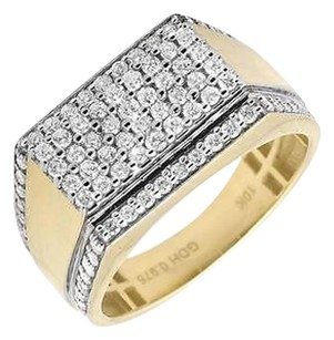 10k Yellow Gold Multi Row Pave Diamond Step Shank Wedding Band Pinky Ring 0.98ct