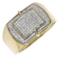 10k Yellow Gold Rectangular Genuine Diamond Wedding Band Pinky Ring 0.50ct.