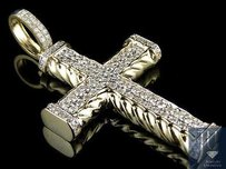 10k Yellow Gold Rope Cross Rows Genuine Diamond Inch Pendant Charm 2.0ct