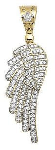 Other 10k Yellow Gold Single Angel Wing Shape 1.5 Inch Diamond Pendant Charm 0.75ct
