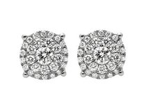 10k Yellow Gold Solitaire Accent 8mm Halo Flower Round Diamond Stud Earring 1ct