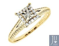 10k Yellow Gold Square Halo Miracle Diamond Beaded Shank Engagement Ring 0.05ct