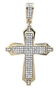10k Yellow Gold Vintage Style Cross Genuine Diamond 1 Inch Pendant Charm 0.40ct.