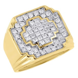 10k Yellow Gold White Round Diamond Mens Big Face Pinky Ring Fashion Band 1 Ct.