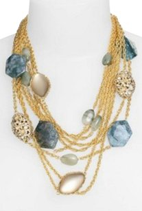 Alexis Bittar NEW! Alexis Bittar Labradorite Agate Lucite Golden Multi Chain Necklace