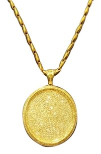 Medallion Charm And Necklace 14k Gold Finish Gift Set Mens Ladies Lab Diamond