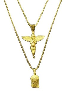 14k Gold Finish Simulated Diamond Silver Angel And Jesus Pendant Combo Chain