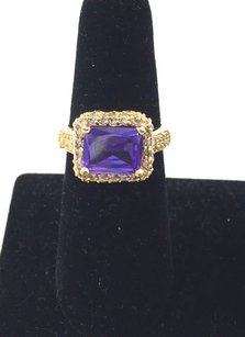 14k Gold Ring Wpurple Glass Stone And Crystals