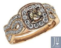 14k Rose Gold Milgrain Brown Canary Diamond Infinity Shank Engagement Ring 1ct