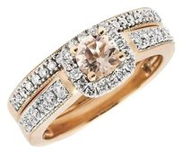 14k Rose Gold Milgrain Halo 34ct Morganite Solitaire 1.0ct Diamond Bridal Ring