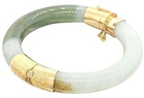 14K Solid Yellow Gold Jade Hinge Bangle Bracelet