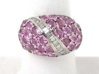 14k White Gold 1ct Baguette Diamonds Pink Tourmaline Dome Design Ring
