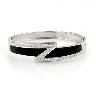 14k White Gold 1ct Diamonds Onyx Z Design Fancy Bracelet Bangle