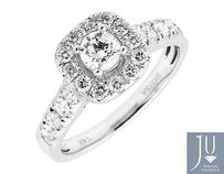 14k White Gold Cushion Halo Solitaire Genuine Diamond Engagement Ring 1.0ct