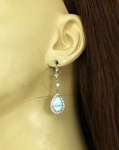 Other 14k White Gold Diamonds Pear Shape Turquoise Drop Dangle Earrings