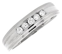 14k White Gold Mens Grooved Diamond 5mm Comfort Fit Wedding Band Ring .25ct