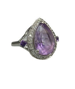 Other 14k White Gold Purple Amethyst Diamonds Ladies Ring