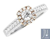 14k White Gold Solitaire Diamond Rose Gold Halo Engagement Wedding Ring 1.0ct