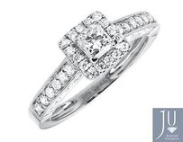 14k White Gold Square Halo Princess Solitaire Diamond Engagement Ring 1.0ct
