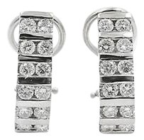 Other 14k White Gold W 1.75ct Round Cut Diamonds Half Hoop Earrings Omega Back
