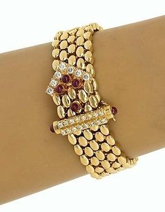 14k Yellow Gold 1.90ctw Diamond Ruby Panther Design Bracelet