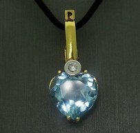 Other 14k Yellow Gold 5tcw Heart Shaped Aquamarine Diamond Pendant On 17 Cord N66